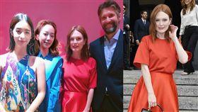 莫允雯(左起)、孟耿如與(坎城、柏林、威尼斯影展)的好萊塢影后茱莉安·摩爾夫婦合影。(組合圖/翻攝自臉書/Salvatore Ferragamo提供)