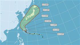 潭美颱風潛勢路徑圖,圖/翻攝自中央氣象局官網
