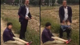 大陸村官與村民發生爭執,怒脫褲露生殖器。(圖/翻攝自秒拍)