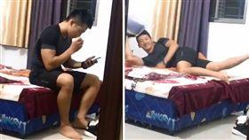 大陸網路上最近瘋傳一段「抖音」影片,香港一名俊俏小鮮肉趁四處無人,躲在房間內盡情聞穿過的襪子,當他發現有人站在門口偷拍時,立刻將襪子丟掉,還露出一副嬌羞的神情。不少女網友看到後紛紛暴動,直喊「帥的人的腳也是香的!」(圖/翻攝自抖音)