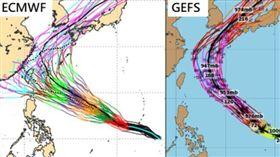 康芮,颱風,模擬路徑(圖擷自ECMWF及Tropical tidbits)
