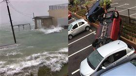 潭美,日本,沖繩,停電,轎車(圖/翻攝自推特)