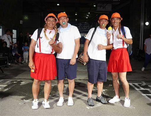 幼稚園組(左起)蕭憶銘、戴培峰、楊晉豪、申皓瑋。(圖/富邦悍將提供)