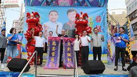 國民黨主席吳敦義30日上午到新北市新莊區參加蔣根煌競選總部成立大會。(圖/國民黨提供)