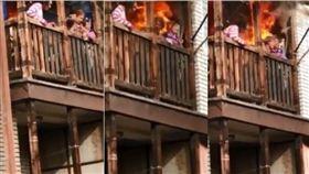 3婦困陽台吶喊 消防聲中被活活燒死(圖/翻攝自LiveLeak)