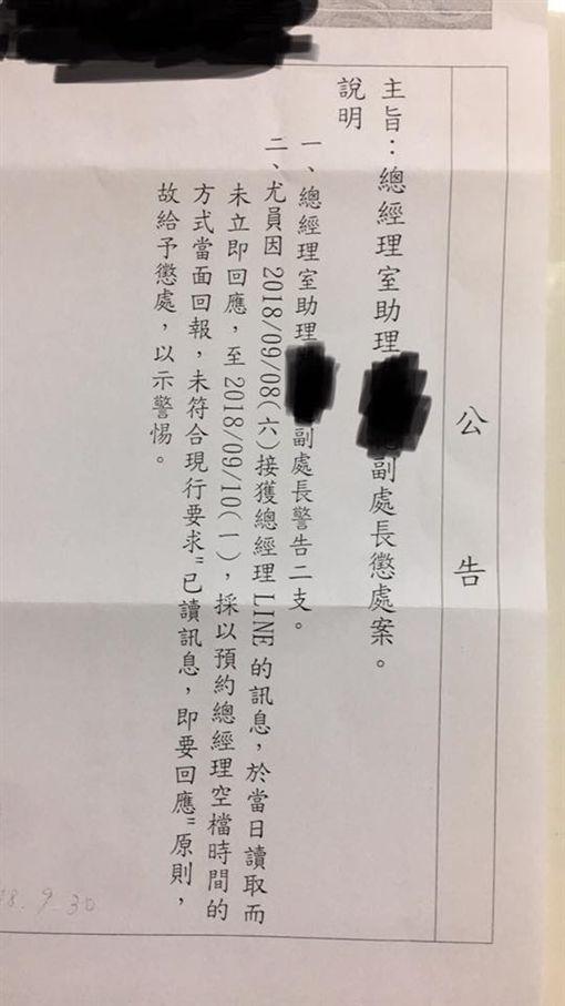 總經理玻璃心!員工休假LINE「已讀不回」,被記2警告(圖/翻攝自爆料公社臉書)