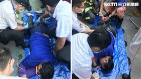 台北市大同區延平北路3段發生一起工安意外,一名年約40歲的工人今(2)日在一棟公寓頂樓施工時,不慎跌落在陽台欄杆上,結果他的雙腿、臀部遭鐵條插入受傷。所幸送醫急救後沒有大礙。(圖/翻攝畫面)