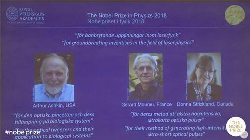 2018年諾貝爾物理學獎得主2日揭曉。(圖/翻攝自Nobel Prize臉書)