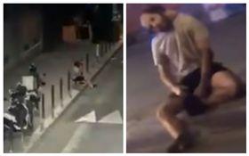 法國,墜樓男身體遭防撞柱貫穿(圖/翻攝自推特)