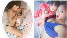 安歆澐僅穿小褲褲餵母乳。(圖/翻攝自安歆澐臉書)