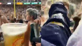 紐約水準?基迷啤酒淋頭霸凌客隊球迷 外卡,紐約洋基,奧克蘭運動家,球迷,霸凌,啤酒 翻攝自推特