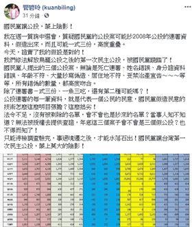 管碧玲簽書批評國民黨讓公投,蒙上陰影!翻攝自管碧玲臉書
