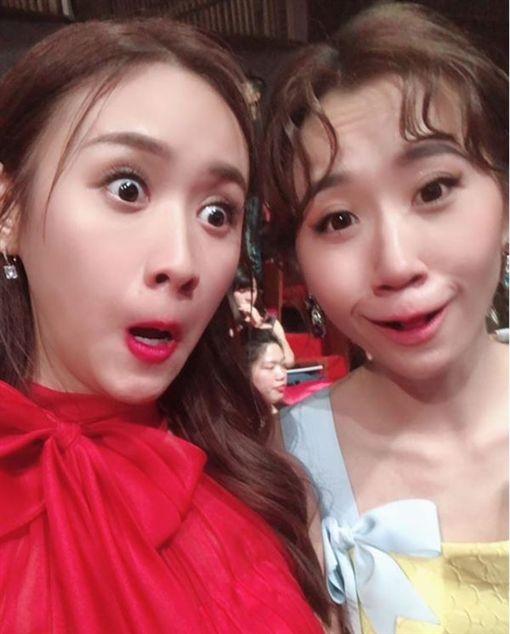 第53屆金鐘獎/吳姍儒(Sandy)跟Lulu槓龜,搞笑自己將大贏家盧廣仲P一起,自稱「影視圈紅綠燈組」。(翻攝IG)