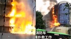 大陸男輕生家中放火「3樓燒到9樓」(圖/翻攝自澎湃視頻)