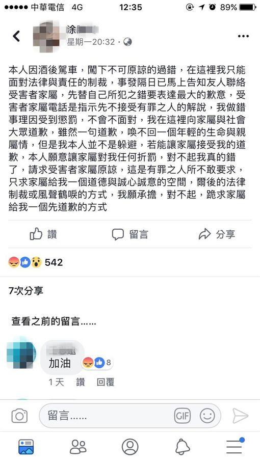 酒駕,製茶師,交保,南投/翻攝肇事者涂男臉書