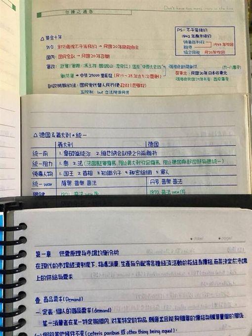 男網友分享求學時代的筆記。(圖/翻攝臉書「爆廢公社」)