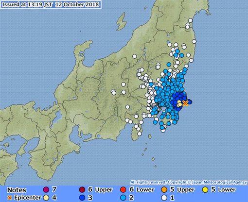 日本千葉縣發生規模5.3地震(圖/翻攝自推特)