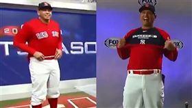 A-Rod願賭服輸,穿整套紅襪球衣被老爹噴香檳。(圖/翻攝自MLB臉書)