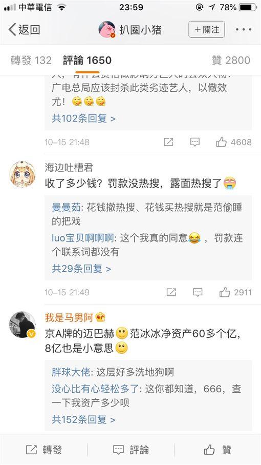 范冰冰、網友留言圖/翻攝自微博