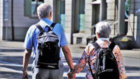 夫妻,老人, 牽手,結婚,背影(圖/翻攝自pixabay)