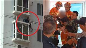 驚險!沿水管25樓爬到8樓 蜘蛛人老翁背後有洋蔥(圖/梨視頻)