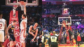 恐怖巨神兵!他灌籃免起飛…籃框壞了  NBA,洛杉磯快艇,Boban Marjanovic,巨神兵  翻攝自推特