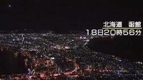 日本放送協會設置在北海道各地的攝影機18日夜裡捕捉到劃過天際的火球。(圖/翻攝自NHK Twitter)