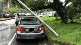 地震狂搖18秒!中研院路燈被晃倒 一旁轎車遭殃 圖/翻攝畫面