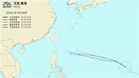 今年第26號颱風「玉兔」發展迅速,今(24)日上午8時增強為強烈颱風。國家災害防救科技中心(NCDR)整理出各國最新路徑預報,大致都預測「玉兔」將朝菲律賓方向前進。(圖/翻攝自NCDR)
