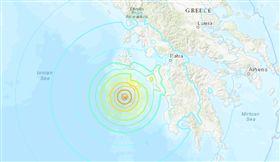 希臘外海7.0強震侵襲 (圖/翻攝自USGS)