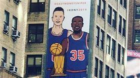 尼克巨型海報招募 杜蘭特:沒打動我 NBA,紐約尼克,金州勇士,Kevin Durant,招募 翻攝自推特