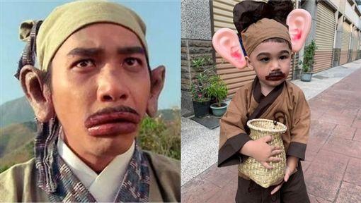 巨耳+香腸嘴 萬聖節呆萌兒成「梁朝偉」(圖/翻攝自爆廢公社)