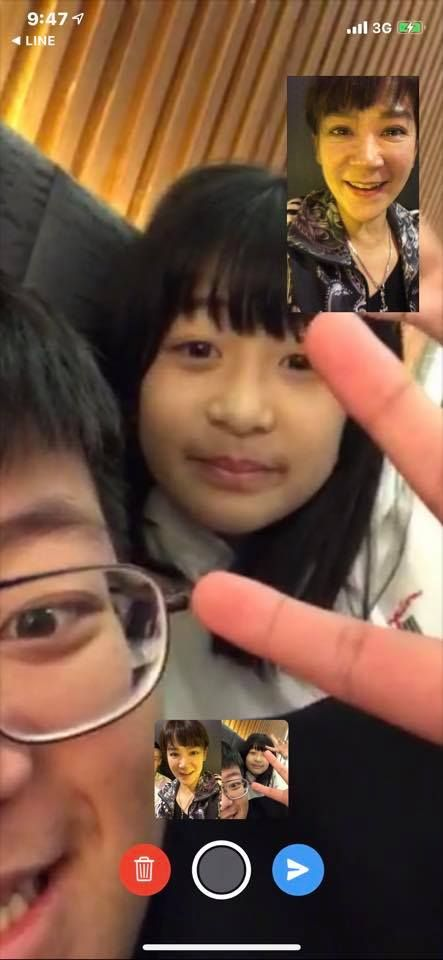 陸元琪用視訊收到兒女的生日祝福。(圖/翻攝自陸元琪臉書)