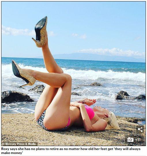 Roxy Sykes靠著賣自己穿過的襪子、鞋子,年收竟賺400萬。(圖/翻攝Daily Mail)