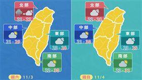 受到颱風「玉兔」外圍、其殘餘水氣與東北季風產生「共伴效應」影響,今(2)日天氣又濕又涼,全台皆有短暫陣雨。周末的天氣如何呢?天氣風險 WeatherRisk在臉書發布天氣預測圖,周六下半天起轉為多雲天氣;周日各地則恢復舒適天氣,多雲可見陽光。(圖/翻攝自天氣風險 WeatherRisk臉書)