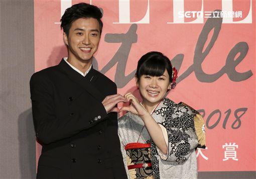 ELLE Style Awards風格人物大賞江宏傑與福原愛。(記者林士傑/攝影)