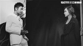 在《黑白》MV裡黃曉明與林采欣飾演守夜人-黑白。(圖/永興行工作室提供)