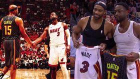 卡特、韋德惺惺相惜 賽後互換球衣  NBA,邁阿密熱火,Dwyane Wade,亞特蘭大老鷹,Vince Carter,傳奇  翻攝自推特
