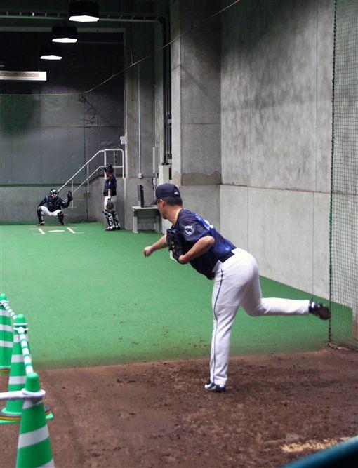 ▲台灣犬投手在福岡巨蛋室內牛棚練投。(圖/中華職棒提供)