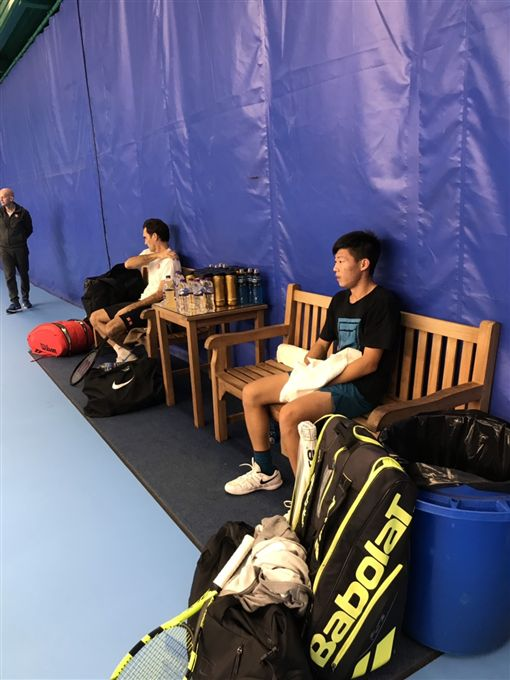 曾俊欣獲ATP邀請擔任球星陪練員。(圖/曾育德提供)