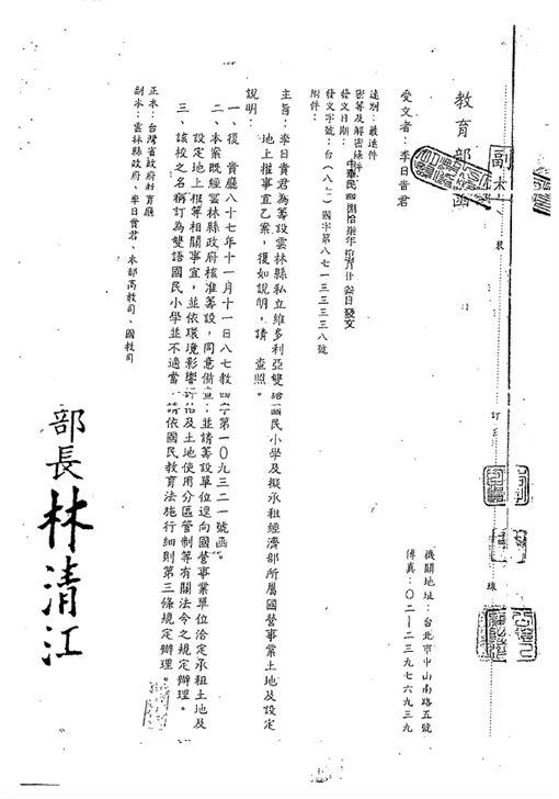 蘇貞昌辦公室出示文件顯示韓國瑜租地早在1988年已經設定,當時蘇貞昌還是台北縣長。蘇貞昌辦公室提供