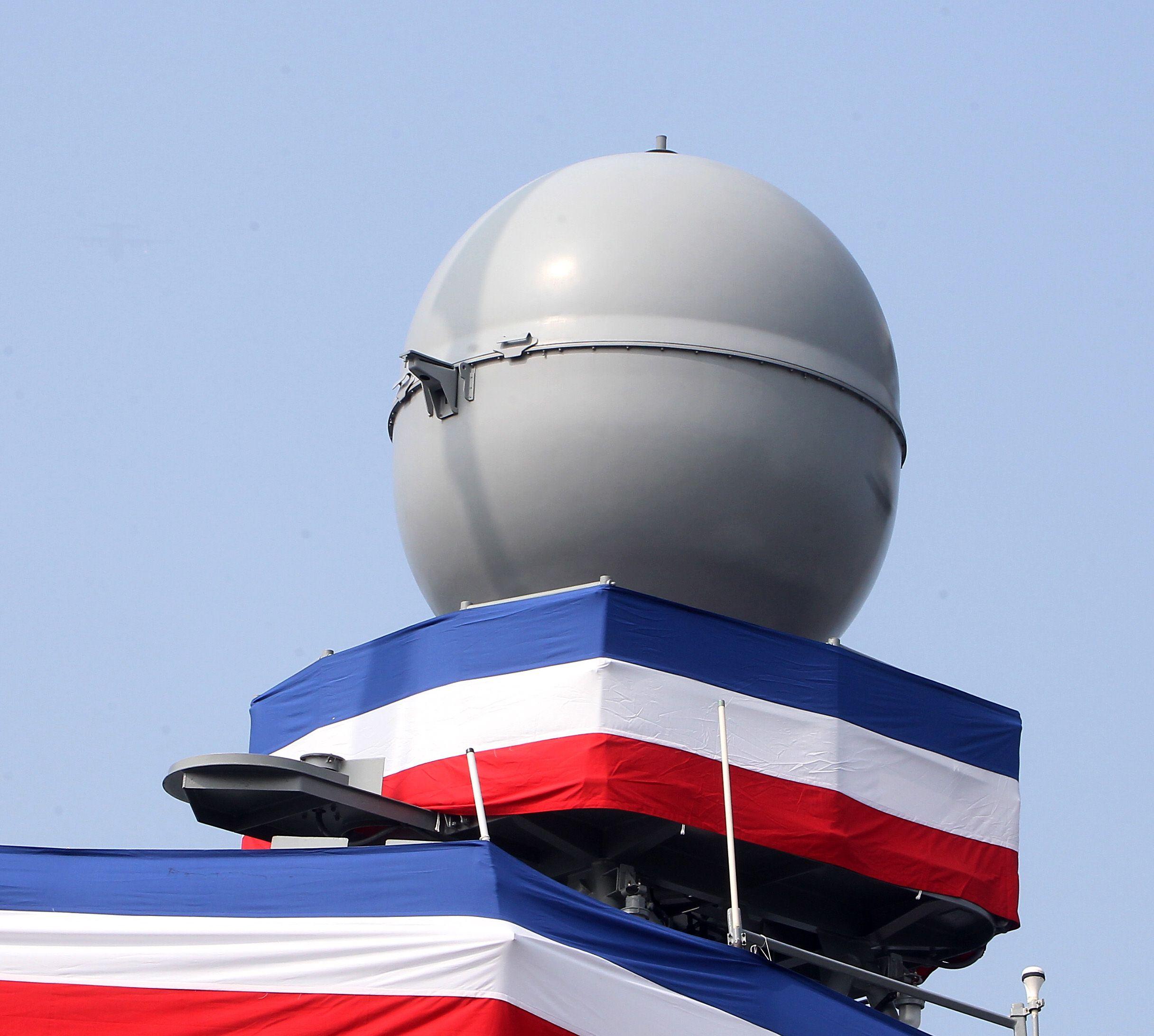 海軍「銘傳、逢甲艦」射控雷達系統。(記者邱榮吉/攝影)