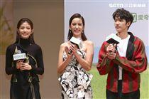 「種菜女神」首映發布會男女主角劉以豪、陳庭妮、李千娜。(記者林士傑/攝影)