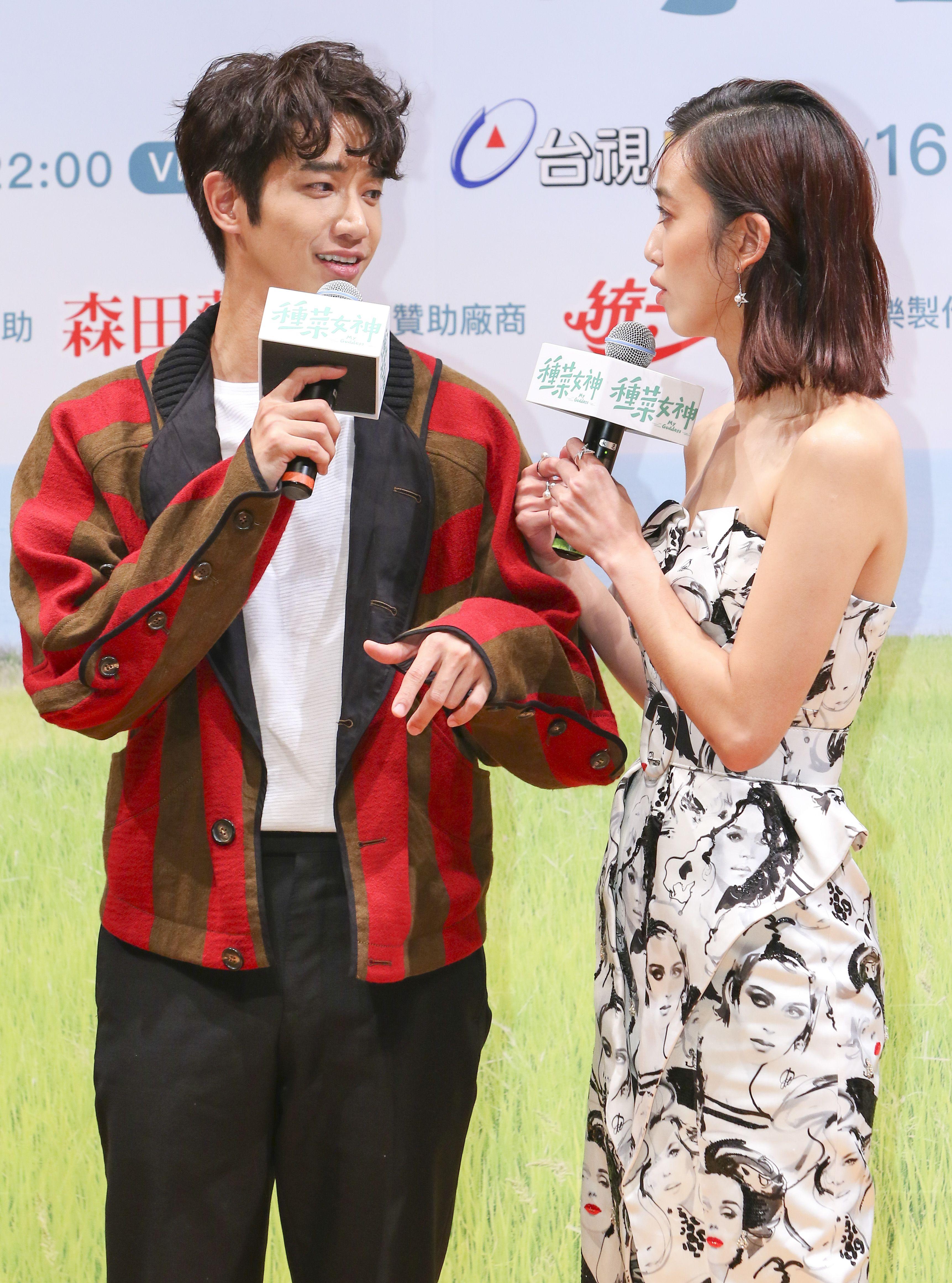 「種菜女神」首映發布會男女主角劉以豪、陳庭妮。(記者林士傑/攝影)