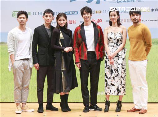 「種菜女神」首映發布會劉以豪、陳庭妮、李千娜、徐鈞浩、劉子千、鄒承恩。(記者林士傑/攝影)