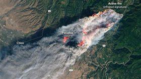美國加州大火不斷燃燒、火勢蔓延迅速,已傳出多人傷亡,根據美國國家航空暨太空總署(NASA)今(11)日發布的衛星空拍圖,可以看見3股野火持續燃燒,造成位於北部巴特郡(Butte County)的天堂鎮(Paradise)陷入一片火海當中。(圖/翻攝自NASA Earth Observatory)