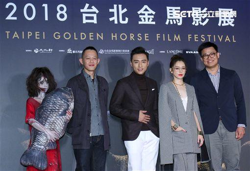 《人面魚》徐若瑄、鄭人碩以及導演莊絢維和監製曾瀚賢 圖/記者林士傑攝影