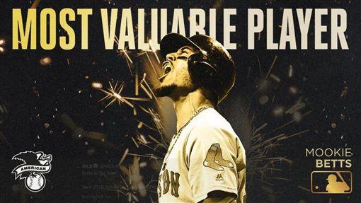 ▲紅襪隊貝茲(Mookie Betts)拿下美聯年度MVP。(圖/翻攝自MLB推特)