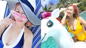 女星白雲與老公到斐濟度假,火辣尺度大解放。(組合圖/翻攝自snowybai IG)