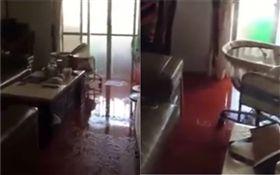 公寓洗水塔排水異常 水從天而降!淹慘客廳 (圖/翻攝自爆料公社)